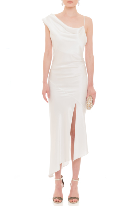 Everly White Silk Dress