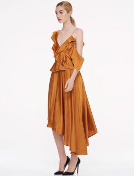 Orange Ruffles Cocktail Dress