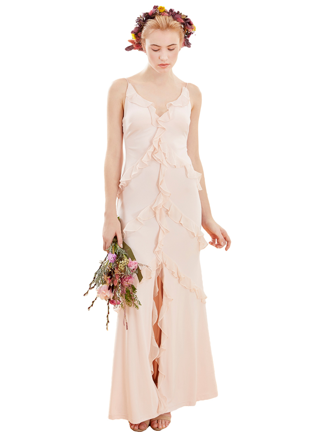 AIDAN MATTOX - Powder Pink Evening Gown With Ruffle Details | Davet ...
